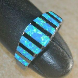 Blue Fire Opal Black Silver Ring